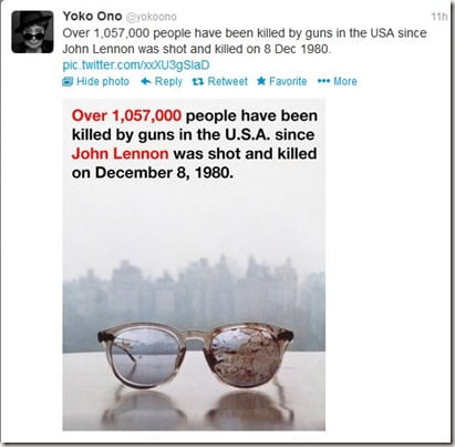 John Lennon Blood Stained Glasses Photos Tweeted by Wife Joko Ono