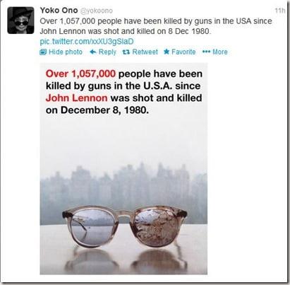 @yokoono joko ono twitte john lennon blood stained glasses
