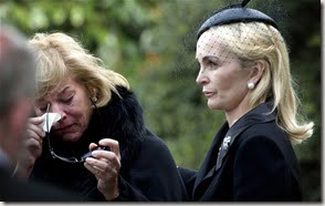 carol thatcher at mother's funeral