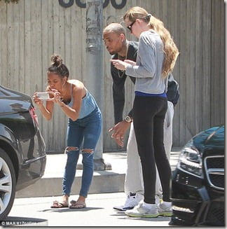 Olga Gure-Kovalenko and Chris Brown accident pic