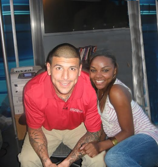 Aaron Hernandez with cool, beautiful, Girlfriend Shayanna Jenkins