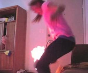 Caitlin Heller- Girl Sets herself on Fire on Twerking Fail Video
