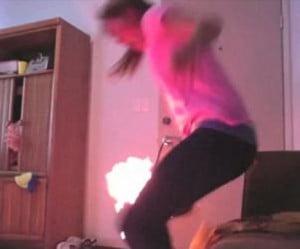 Caitlin Heller- Girl Sets herself on Fire on Twerking Fail Video