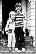 (L-R) Portrait of American actor Leonardo DiCaprio as a young boy and his stepbrother Adam Ferrer, Los Angeles, California, late 1970s. (Photo by Gianfranco Gasparro/Liaison/Getty Images)