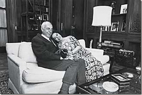 Amer. Amb. to Czechoslovakia Shirley Temple Black, in the Amb.'s official residence, relaxing on a couch w. her husband Charles Black and their dog Gorby.  (Photo by Terry Smith//Time Life Pictures/Getty Images)