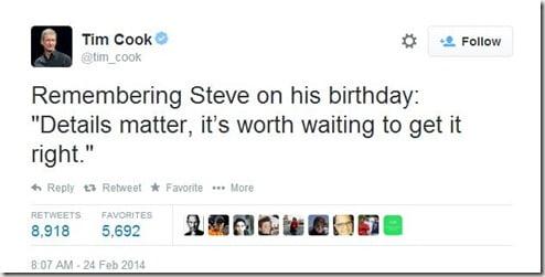 Tim Cook Steve Jobs birthday