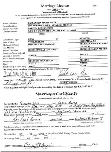 Dakota Meyer Cassandra Wain marriage certificate