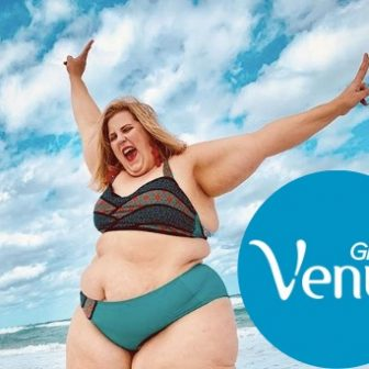 Anna O'Brien plus-sized model in a bikini for Gillette